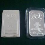 Silver Bar Kasih (Kulim)50g -kanan dan 1 oz silvertown -kiri
