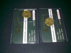 2 pcs Dinar GCP emas 999